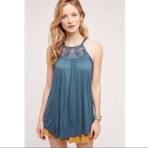 Anthro One September Halter Embroidered Tunic Tank